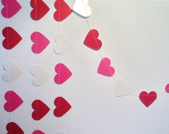 Paper Heart Garland. Red, Pink and Ivory Shimmer. Wedding - Engagement - Valentines - Home Decor - Table Decoration.