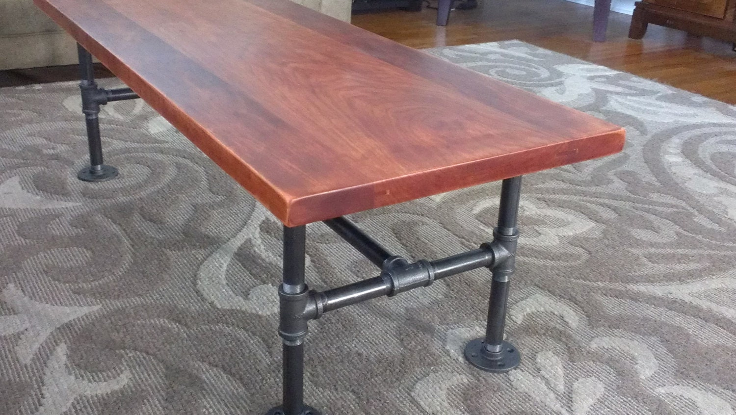 Solid Cherry Coffee Table With Industrial Iron Pipe Legs