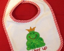 "SALE!!! Frog Bib, Frog Prince, Embroidered / Appliqué Bib,  ""Pucker Up"" Frog Bib"