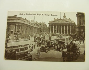 1920s Antique Bank of England Postcard,Vintage RPPC Bank of England and Royal Exchange, London Postcard, Real Photo Post Card,Early London