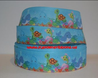 3 yards Under the Sea Animals - 1 inch - Printed Grosgrain Ribbon
