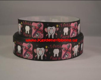 3 yards Tooth Fairy - 1 inch - Printed Grosgrain Ribbon