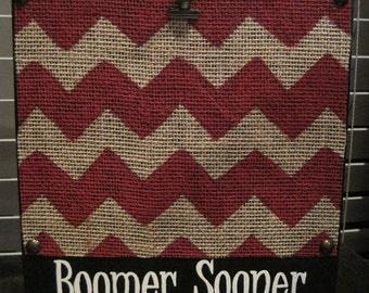 Crimson Boomer Sooner University of Oklahoma Chevron Picture Frame