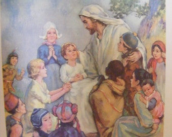 Vintage 1939 Lithograph Jesus Blesses the Children Religious Print Christian Buy 2 get 1 Free