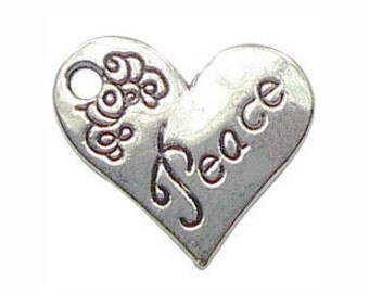 BULK 40 Silver Peace Affirmation Heart Charm Pendant 18x21mm by TIJC SP0353B