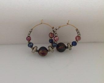 Vintage 1980s hoop earrings with beads