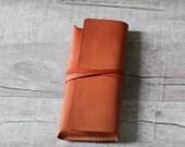 Light Brown Leather Pencil Case/Pen Pouch/ Sunglasses Case