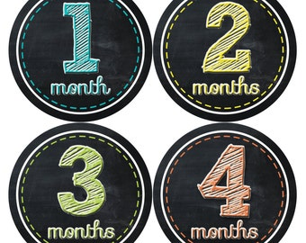 Monthly Baby Stickers Baby Boy Stickers Baby Month Milestone Stickers Baby Month Stickers Month to Month Bodysuit Stickers Shower Gifts  002