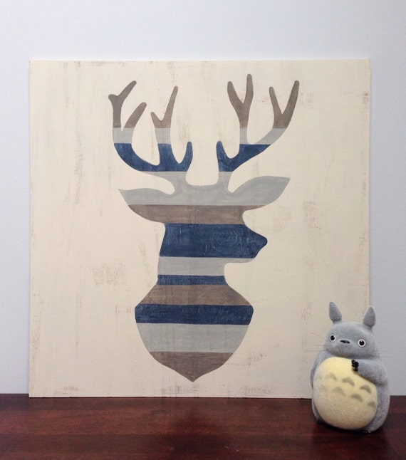 Rustic Wall Decor For Nursery : Woodland nursery art deer wall large