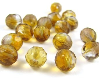 Crystal Light-Dark Topaz 8mm Facet Fire Polished Czech Glass Beads 20pc #1861