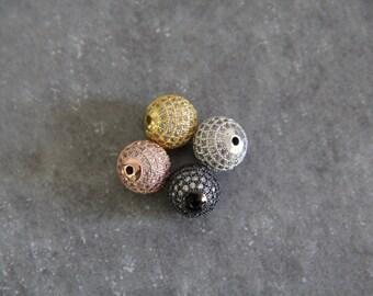 CZ Micro Pave 12mm Round beads