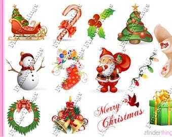 Christmas Santa Tree Variety Nail Art Decal Sticker Set CMS901