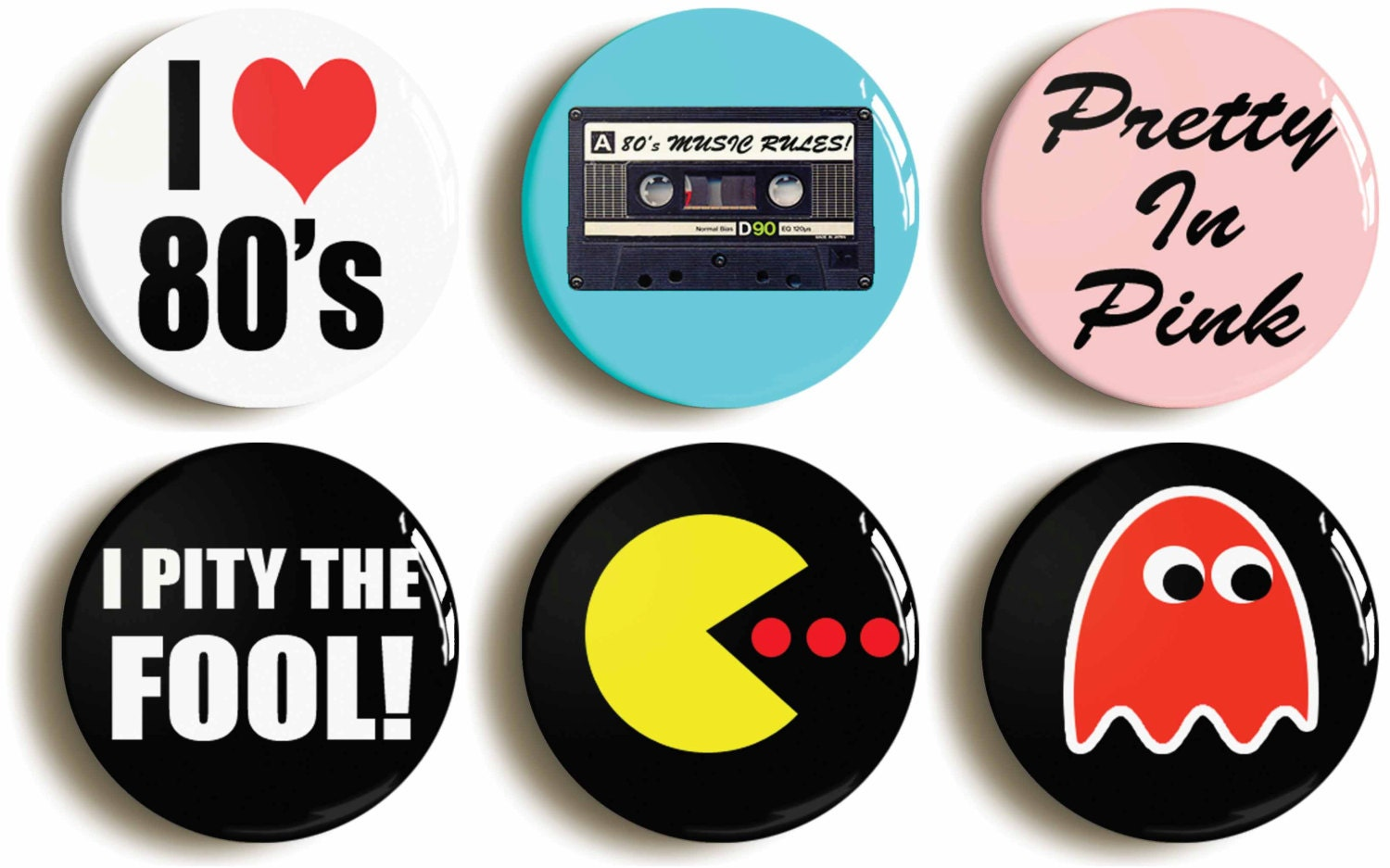 set of six eighties fancy dress costume party badges. Black Bedroom Furniture Sets. Home Design Ideas