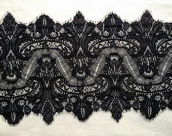 Vintage Chantilly Lace Fabric Trim, Black Eyelash Lace, Wedding Table Decor, Shawls, Cuffs, Dresses, Garments