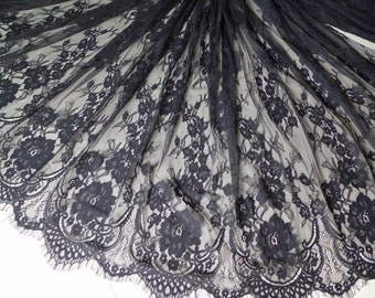 Black chantilly Lace fabric, black French lace fabric, Black eyelash fabric