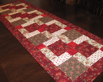 Red Quilted Table Runner - red, brown, and off-white squares and rectangles