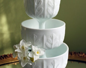 "Milk Glass Oak Leaf Design Footed Bowls. Set of Three Beautiful Wedding or Collectible Dishes.  6.5"" 6"", 5,75"" Tall"