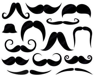 Mustache Clip Art, Photo Booth Printabl Props - YDC036