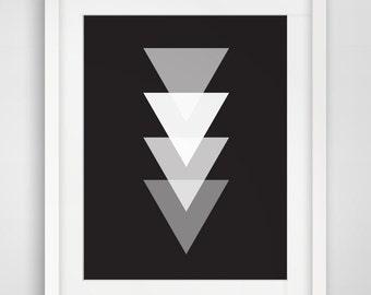 Triangle Print, Black and White Geometric Art, Triangle Wall Art, Geometric Print, Black, White, Printable Artwork