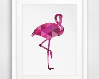 Flamingo Print, Flamingo Art, Hot Pink Art, Hot Pink Print, Pink Nursery, Pink Girls Room, Hot Pink Nursery, Flamingo, Fuschia