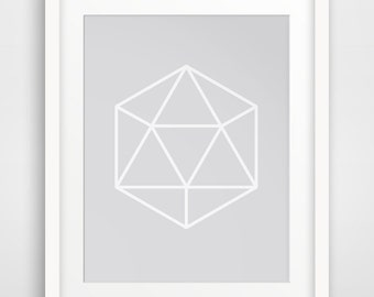 Silver Geometric, Silver Gem Wall Art, Silver Abstract Print, Geometrical Print Art, Printable Wall Art, Geometric Prints, Grey Gem Print