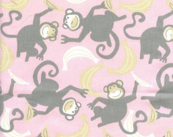 CLEARANCE - Premier Prints Chimps Bella Pink Monkey Themed Nursery Crib Bedding Fabric in bella pink and Storm Grey - By the 1/2 yard