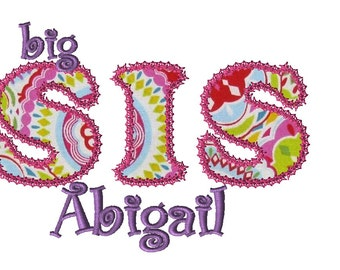Personalized Big Sis Applique Shirt for Girls