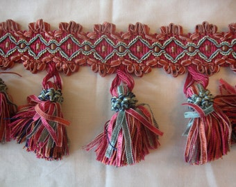 Hot pink, Teal, Blue,Tassel fringe, Ribbon Fringe,