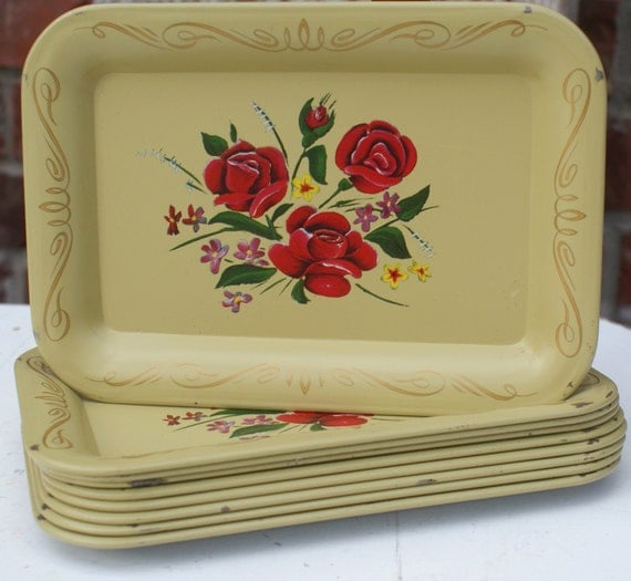 Vintage tin canape trays set of 9 by beachlanevintage on etsy for Canape platters