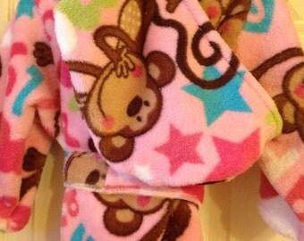 Robe, pink Monkeys, kids/toddlers, handmade, cuddle soft fleece, personalized, hooded toddler robe, CIJ