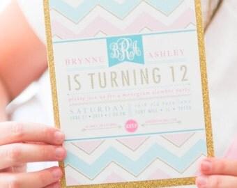 Monogram Invitation Slumber Party Girl Tween Teen Gold Glitter Sleepover Birthday - Printable Customized Invitation