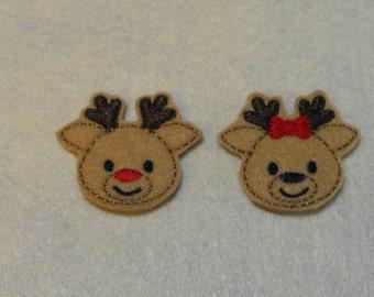 2 Reindeer Boy & 2 Girl Reindeer felties, feltie, machine embroidered, felt applique, felt embellishment, hairbow center