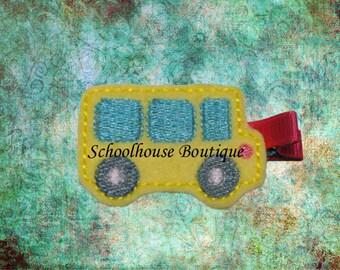School Bus Felt Hair Clips - Felties - Feltie Hair Clip - Felt Hairbow - Felt Hair Clips - Felt Hair Clippie-Party Favor