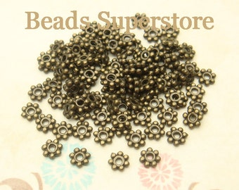 4 mm Antique Bronze Daisy Spacer - Nickel Free, Lead Free and Cadmium Free - 100 pcs