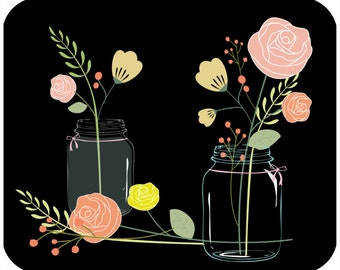 Custom, personalized mouse pad - Mason Jars with Flowers - Add your own text
