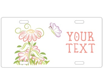 Personalized, Standard Size license plate - Flower - Add your text