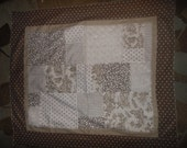 Fabric Panel Baby Quilt Patch 36X45 Flannel White Brown Coffee Fuzzy Soft stripes Spot Unisex Boy girl