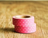 Washi Tape in Pink & White Polka Dots - 15mm x 10m - Roll Japanese Masking Party Pretty Festive Gift Wrapping Packaging Fun Retro