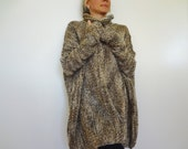 Oversized chunky woman  sweater. Bulky/Slouchy/Loose sweater Multicolor  knit womens sweater. Handmade knit sweater. Plus size.