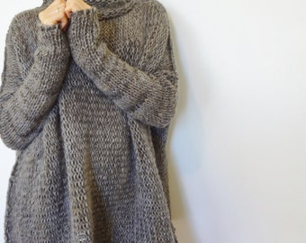 Oversized  Chunky knit sweater.Slouchy/Bulky/ Loose sweater. Marble gray. Limited  quantity.