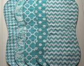 Boutique Baby Burp Cloths-  Aqua Chevron, Houndstooth, Quatrefoil, Damask, Dots - Universal Burp Cloth, baby burp rags, Pricing starts for 2
