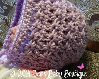 Lilac Bonnet w/ braided pigtails, Newborn Crochet Baby Girl Bonnet, Ready to Ship, Photo Prop Bonnet