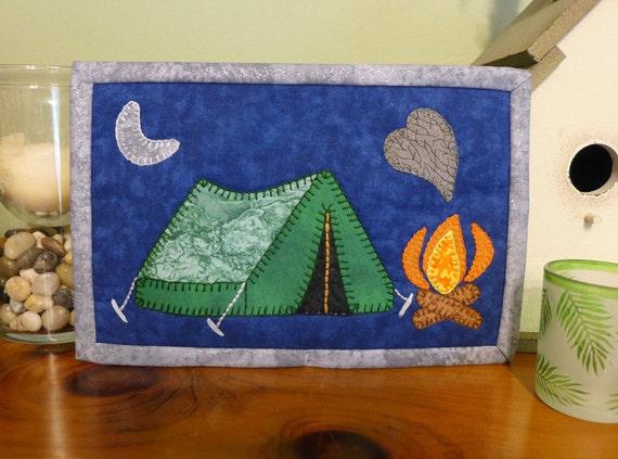 Pdf pattern for camping mug rug camping fireside mug rug for Wall tent pattern