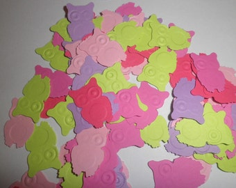 100 Mixed colors embossed owl confetti punched die cuts, fall dcor, party decor,scrapbooking