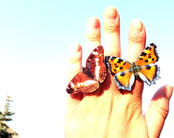 SALE - Buy two butterfly ring cheaper, Brown butterfly, Orange butterfly, Butterfly ring, Butterfly jewelry, Wing jewelry, Wing ring.