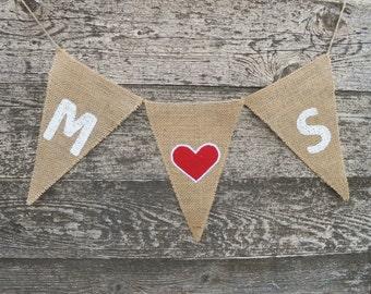 Personalized Banner Custom Banner Initials Banner  Wedding Banner Burlap Wedding Decor Wedding Garland Heart Garland Rustic Burlap Bunting