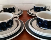 RESERVED !!! Arabia Anemone tea cup , saucer and side plate Ulla Procope. Signed Finish mid century.