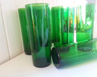 Scandinavian green glass, long drink handmade in Sweden Lindshammar