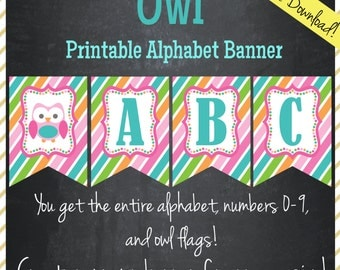 Owl Printable Alphabet Banner - Instant Download