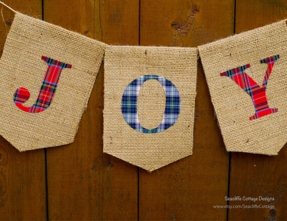 Joy Christmas Banner Burlap Red Blue Green Plaid Tartan Fabric Rustic Plaid Garland Bunting Christmas Decoration Photo Prop